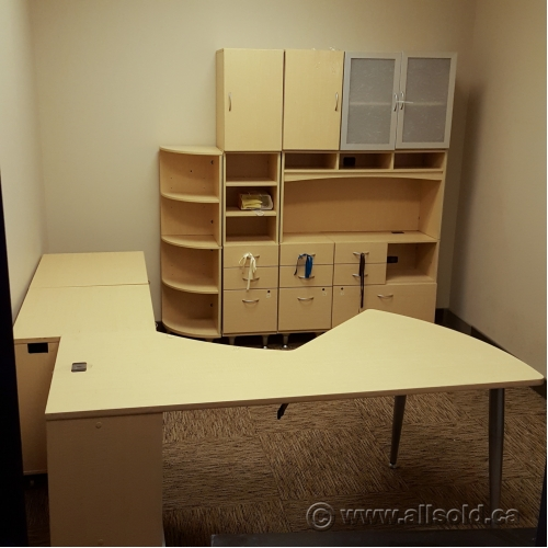 Blonde 6 Pc Modern Desk Suite With Filing Storage And