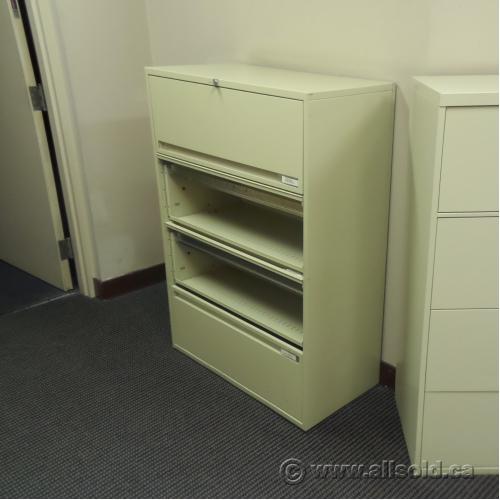 Beige 4 Drawer Flip Front Lateral File Cabinet Locking