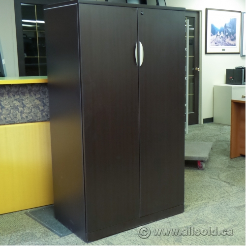 Espresso 65 Quot 2 Door 5 Shelf Storage Cabinet Locking