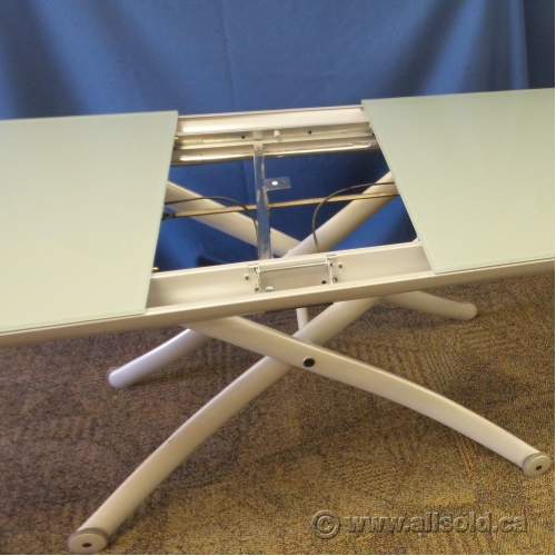 White Glass Top Height Adjustable Coffee Table W/ Leaf