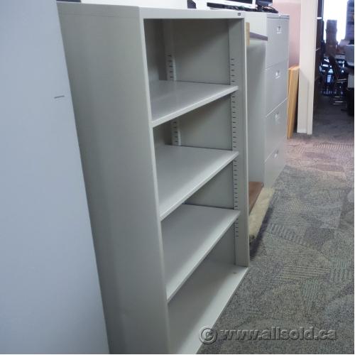 Beige 4 Shelf Metal Book Case With Adjustable Shelves
