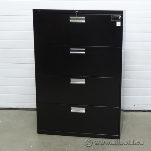 Hon Black 4 Drawer Lateral File Cabinet Locking W Key