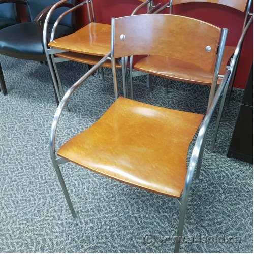 Tobago Stacking Chair Brown Chrome: Light Brown Wood Stacking Office Guest Chair W/ Chrome