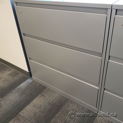 "Grey Steelcase 36"" 3 Drawer Lateral File Cabinet, Locking ..."