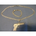 Silver chain and Bracelet  with Gun Pendant