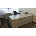Steelcase Grey L Suite Desk, 2 Peds, Durable 7 Available