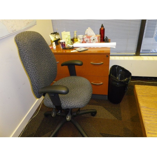 Multi Adjustable Grey Rolling Office Chair With Arms
