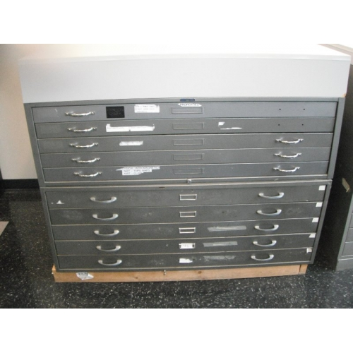 Map Cabinet, 10 Drawer, With Retainers And Work Surface
