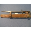 Antique Circa 1900 US Bayonet & Leather Sheath