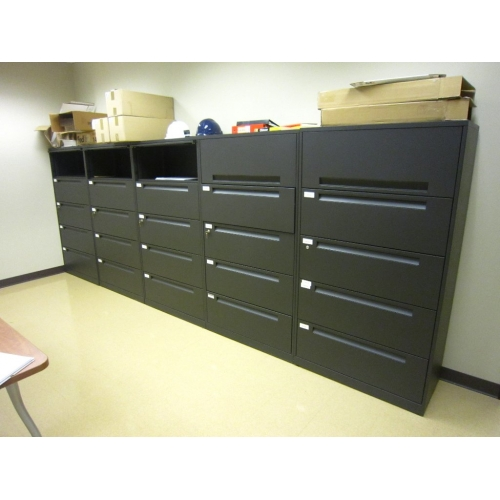 5 drawer lateral file cabinets w   oh storage charcoal grey black - allsold ca