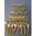Lot of 27 Assorted Gold Christmas Tree Ornaments