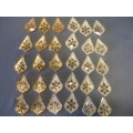 Lot of 30 Silver & Gold Christmas Snow Flake Ornament