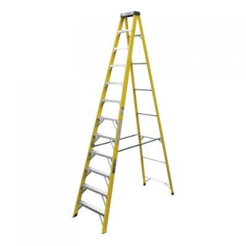 Industrial Lite Yellow 12 Ft Step Ladder Fiberglas