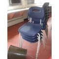 Blue Plastic Metal Frame Stacking Student Guest Chair Stackable