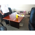 8' Medium Cherry and Black Rectangle Boardroom Meeting Table