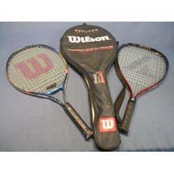 Lot of 2 Tennis Rackets /w holder