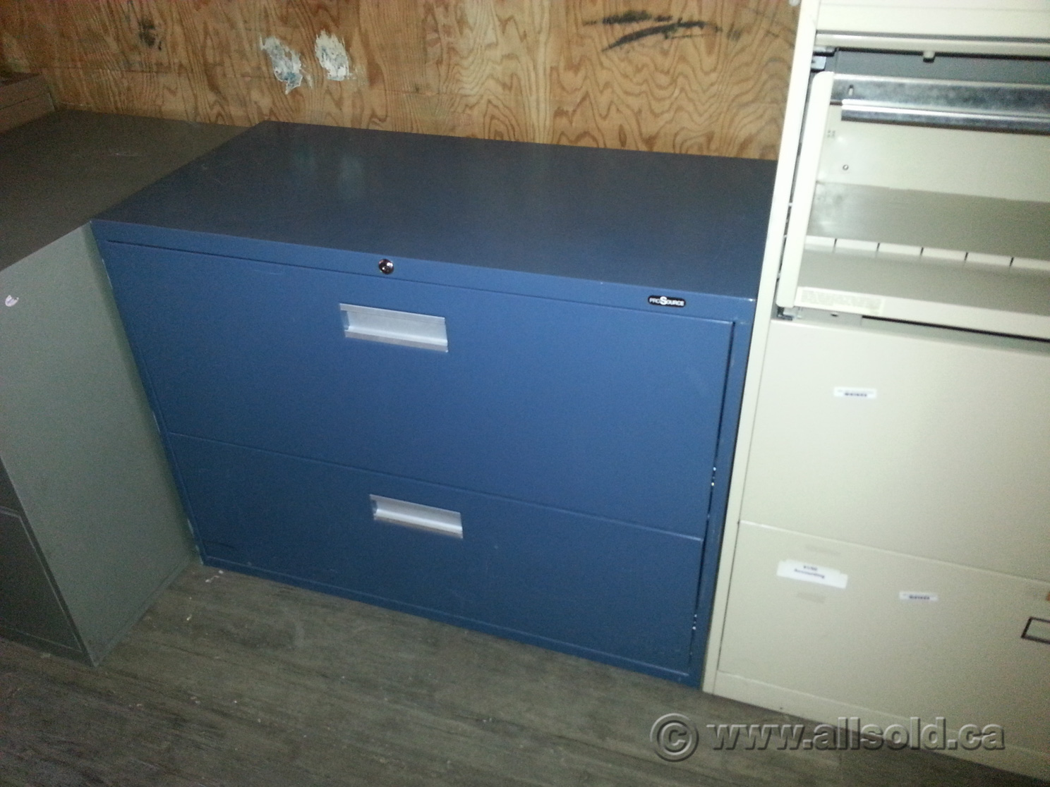 Prosource Gun Metal Blue 36 In 2 Drawer Lateral File Cabinet