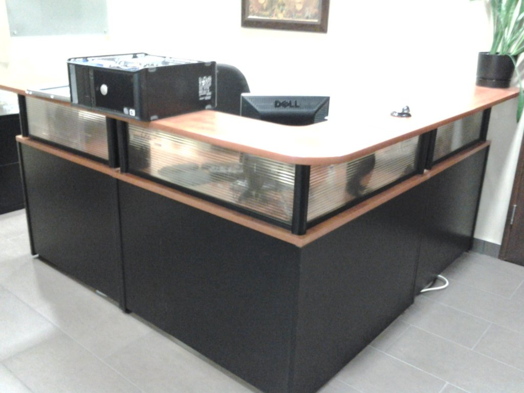 L Shaped Reception Desk Unit Suite W Privacy Glass Allsold Ca Buy Amp Sell Used Office Furniture Calgary