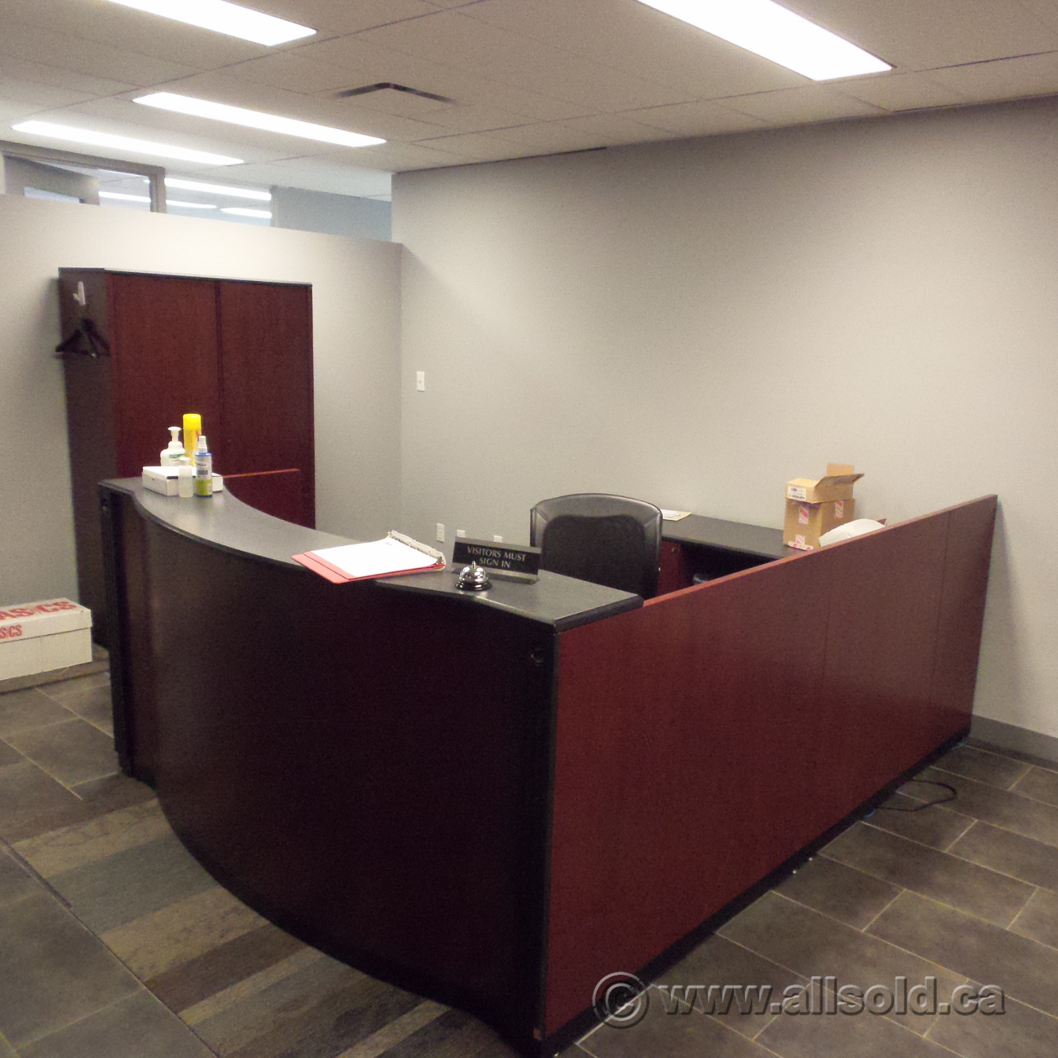 Mahogany C U Suite Reception Desk Transaction Counter