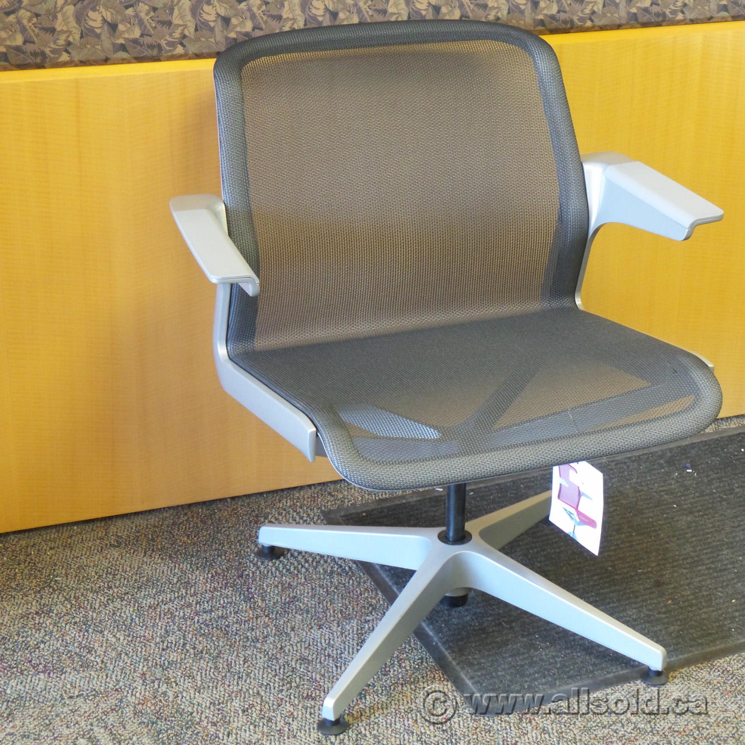 Allsteel Clarity Grey All Mesh Stationary Lounge Guest