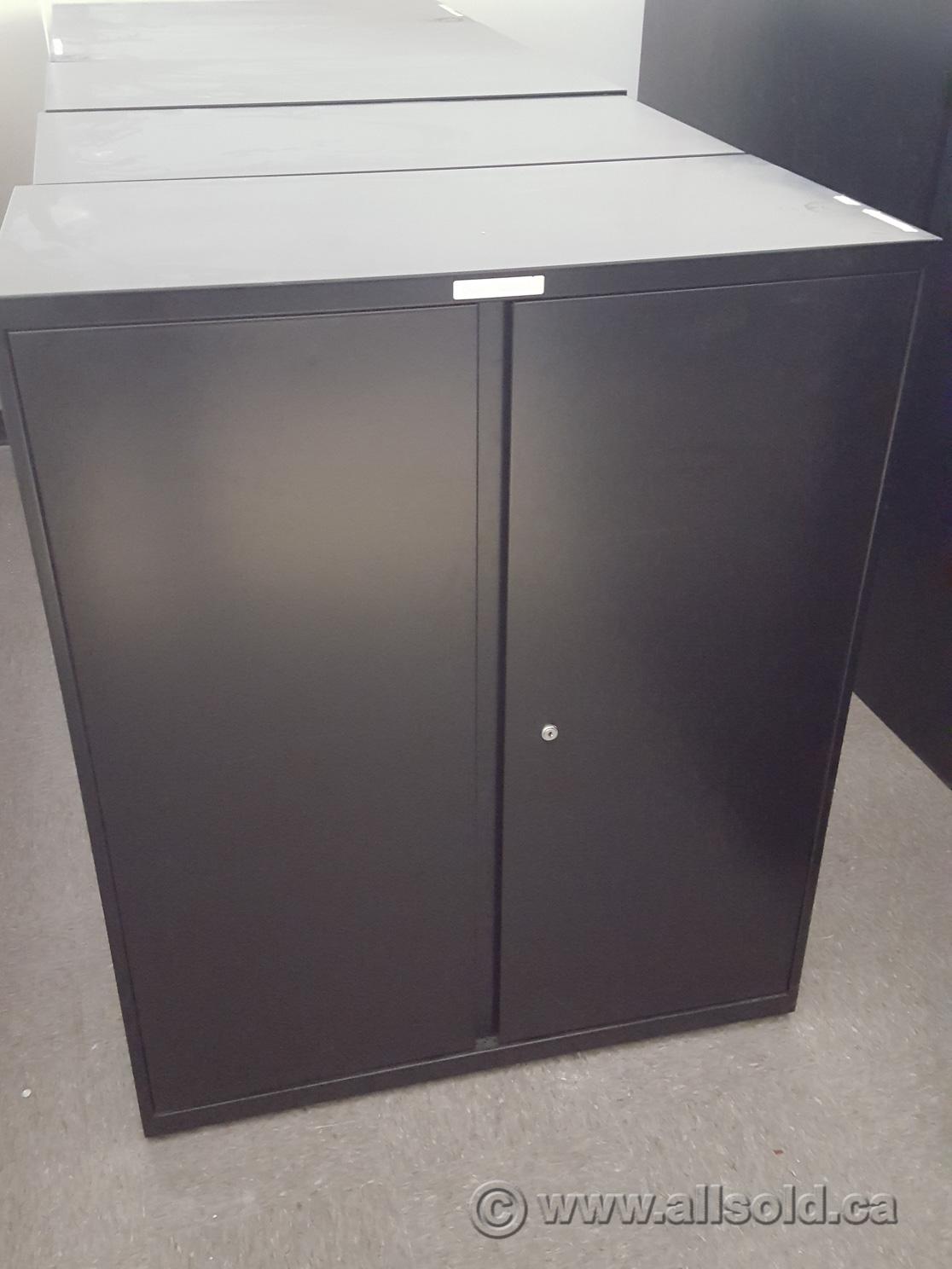 Teknion Black 36x18x42 2 Door Metal Storage Cabinet