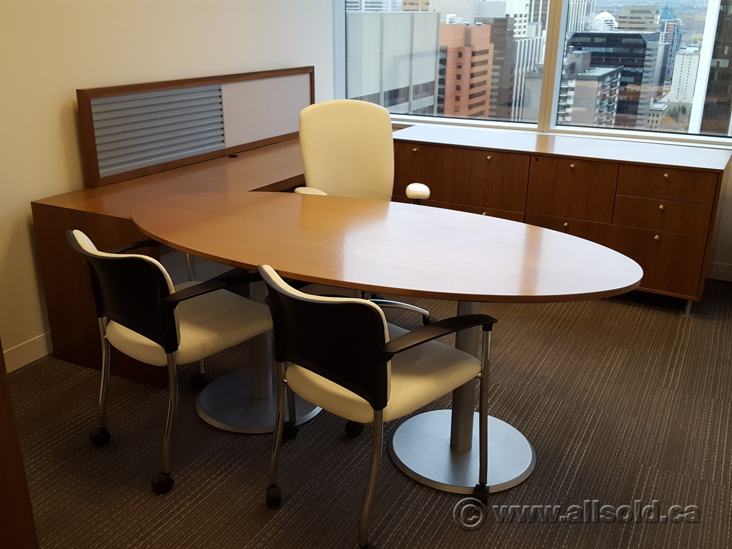 Teknion Solutions Solitaire Series Walnut Oval Table Desk Buy Sell Used Office