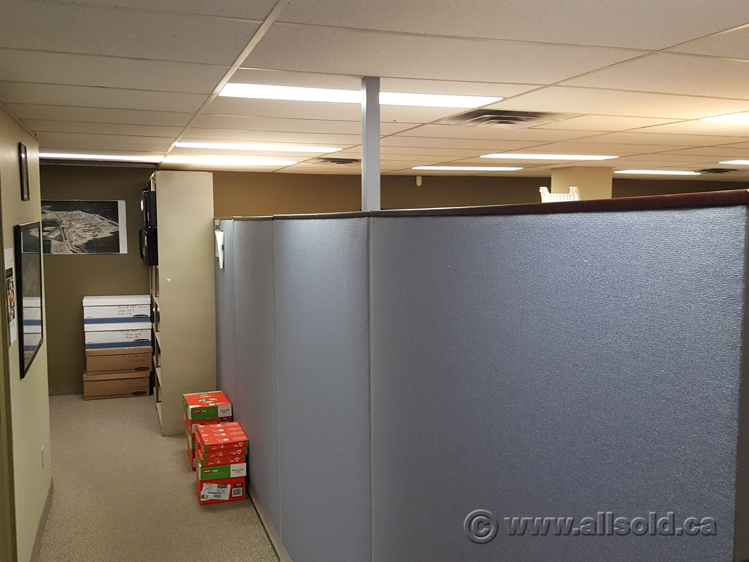 Wood Office Cubicles ~ Blue fabric panel office cubicle dividers dark wood trim