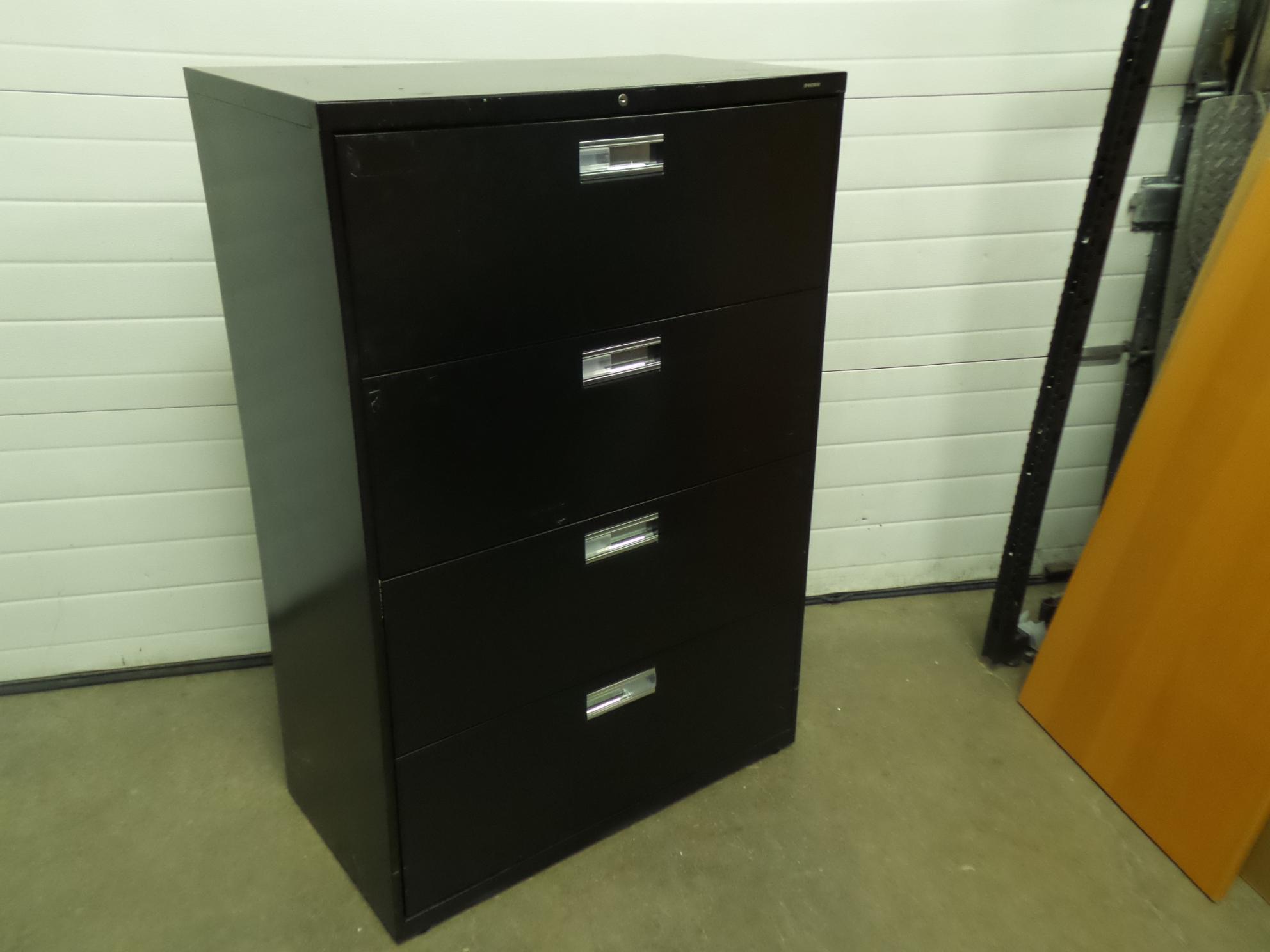 HON Black 4 Drawer Lateral File Cabinet, Locking W Key